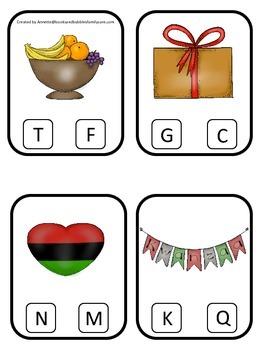 Kwanzaa themed Beginning Sounds Clip it Cards preschool curriculum game.
