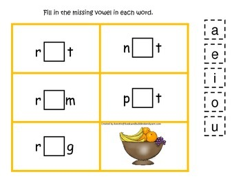 Kwanzaa themed CVC #4 preschool homeschool vowel activity.  Phonics.