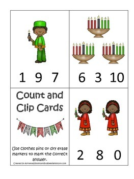 Kwanzaa themed Count and Clip Cards child math curriculum.  Daycare.