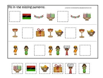 Kwanzaa themed Fill in the Missing Pattern preschool printable game.