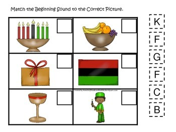 Kwanzaa themed Match the Beginning Sound.  Preschool learning game.