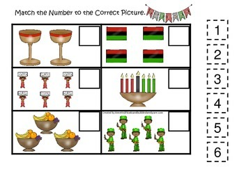 Kwanzaa themed Match the Number preschool educational game.  Daycare learning.