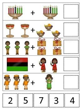 Kwanzaa themed Math Addition printable game.  Preschool math activity.