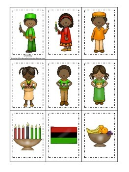 Kwanzaa themed Memory Matching Cards.  Preschool learning game.