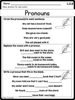 L.1.1.d- Pronouns- Personal, Possessive, and Indefinite Pronouns