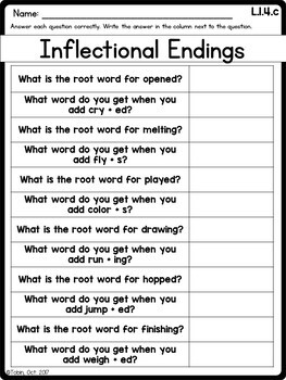 L.1.4.c- Inflectional Endings