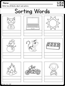 L.1.5.a & L.1.5.b- Sorting Words and Categories