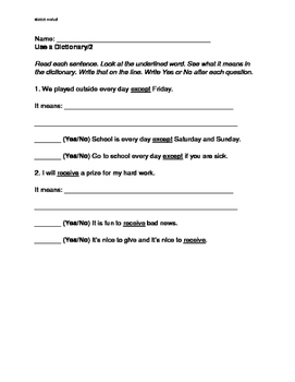 Dictionary Use Practice Pages, Grade 2, Grade 3 ELA