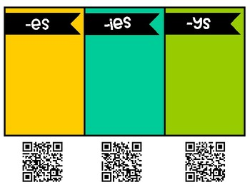 L.3.1 - Plural Endings (es, ies, ys) Self-Checking Sort Center with QR Codes!