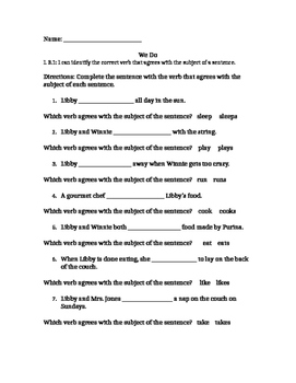 L 3.1 Subject, Verb Agreement