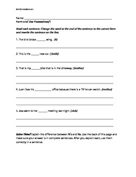 L.3.2.d Form and use possessives