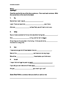L.3.2.f Use Spelling Patterns: Three Worksheets, (One Multiple-Choice)