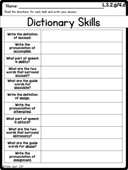 L.3.2.g and L.3.4.d- Dictionary Skills and Reference Materials