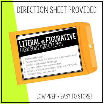 L.3.5 - Literal vs Figurative Language Self-Checking Sort Center with QR Codes!