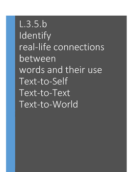 L.3.5.b Making Text Connections: Text-to-Self, Text-to-Text, Text-to-World