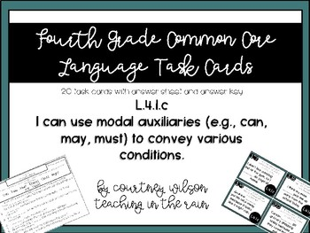 L.4.1.c Modal Auxiliaries Task Cards and Worksheet