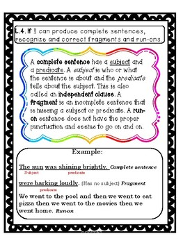 CCSS L.4.1f Complete sentences, fragments and run-on standard based lesson