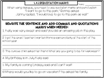 L.4.2.b Quotation Mark and Comma Task Cards and Worksheet