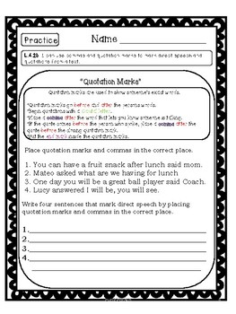Common Core L.4.2b Quotation Mark standard based lesson