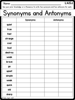L.4.5.c Synonyms and Antonyms