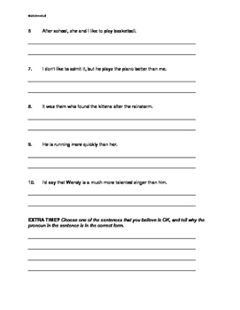 L.6.1.a Ensure that pronouns are in the proper case   THREE Worksheets
