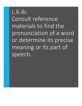 L.6.4.c Consult reference materials to find words' meaning/part of speech
