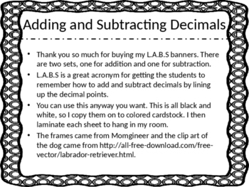 L.A.B.S Banner: Adding and Subtracting Decimals