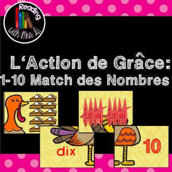 L'Action de Grâce 1-10 Match des Nombres