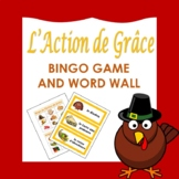 L'Action de Grâce: French Thanksgiving Bingo Game and Word Wall