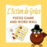L'Action de Grâce: French Thanksgiving Puzzles and Word Wall