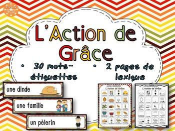 L'Action de grâce - French Thanksgiving - mur de mots et lexique