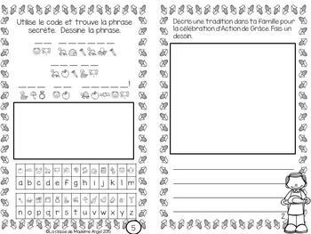 L'Action de Grâce:  Thanksgiving Activity Booklet in French