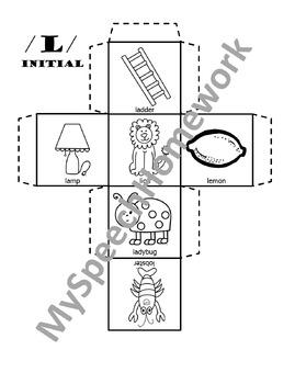 /L/ Articulation Dice Craft - initial, medial, & final