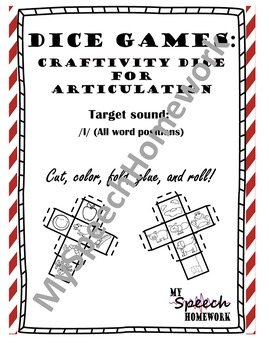 /L/ Articulation Dice Craft - initial, medial, & final