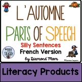 L'Automne Parts of Speech Silly Sentences French Version
