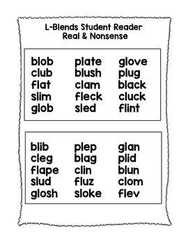 L BLENDS - Phonics Fluency Assessment