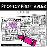 L BLENDS Worksheets Printables NO PREP Interactive Word Work