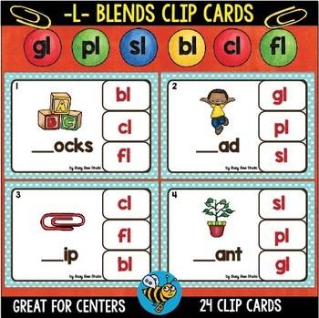 L Blend Clip Cards: bl, cl, fl, gl, pl, sl