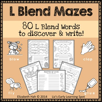 L Blend Mazes: 80 L Blend Words to Discover and Write