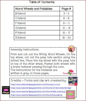 Word Wheels and Foldables for L Blend