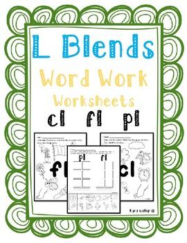 L Blends Word Work Worksheet Set