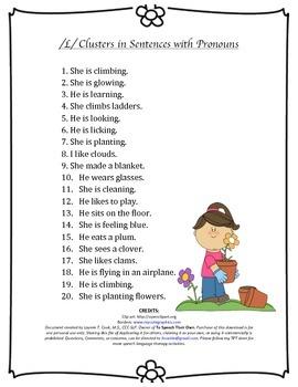 L Blend sentences with pronouns