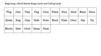 L Blend word BINGO cards