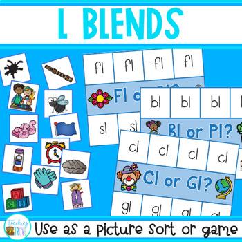 L Blends Picture Sort - Center Activity