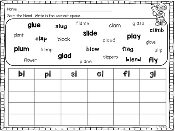 L Blends - Centers and Printables