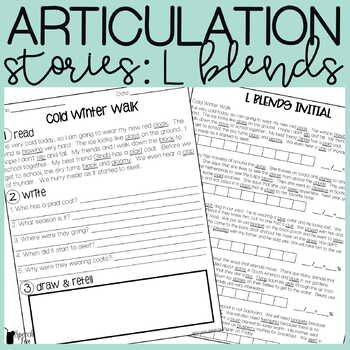 L Blends Articulation Stories with Language Component