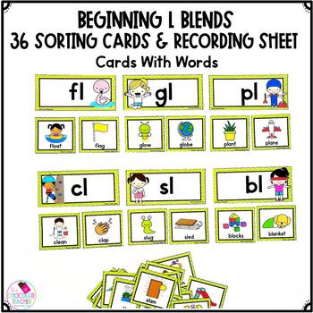 L Blends Unit with BL, CL, FL, GL, PL, SL Sorting Activity and Worksheets