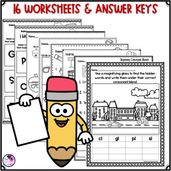 L Blends Unit with BL, CL, FL, GL, PL, SL Sorting Activity and Worksheets