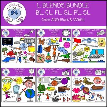 L Blends (Bl, Cl, Fl, Gl, Pl, Sl) Beginning Sounds Clip Art Bundle