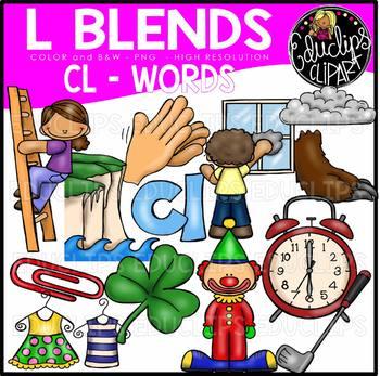 L Blends CL Words Clip Art Bundle {Educlips Clipart}